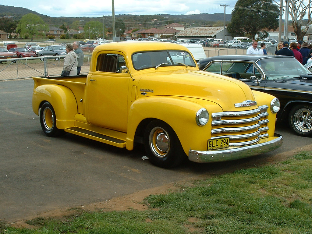 1950 Model of yellow american car-Chevrolet 3100 Pickup