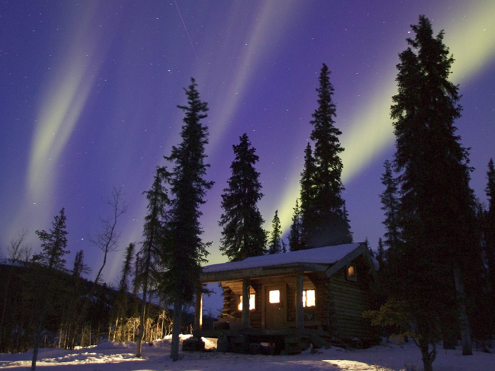 cabin glow alaska winter wallpaper